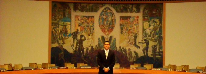 BHRC Fellow Yousef Taha '13 at the United Nations Relief and Works Agency for Palestine Refugees (UNRWA), New York City, NY.