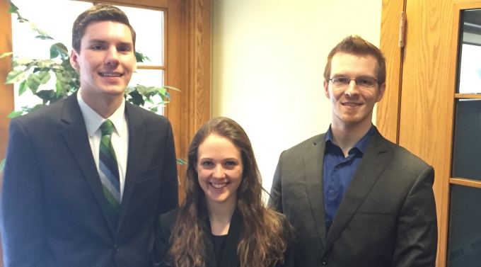 Jeffrey Shalke '17, Christine Sullivan '16, and John Darnell '16. Coached by Prof. Jessica Owley (not pictured).