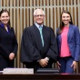 US Court of Appeals Judge Julio M. Fuentes '75 with a team of UB law interns.