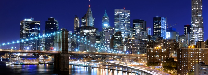 New York City skyline at night.