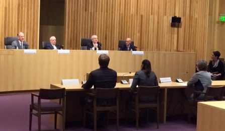 Pro Bono Scholar Jeffrey Donigan '15 testifying at Chief Judge's Hearing on Civil Legal Services in Syracuse, NY.