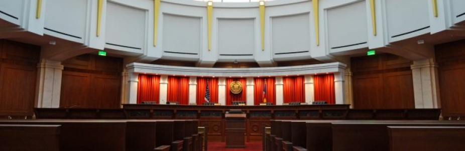 photo of a courtroom.