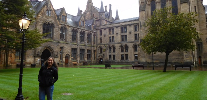 UB Law student Jordan Sieracki standing in front of the University of Glasgow.