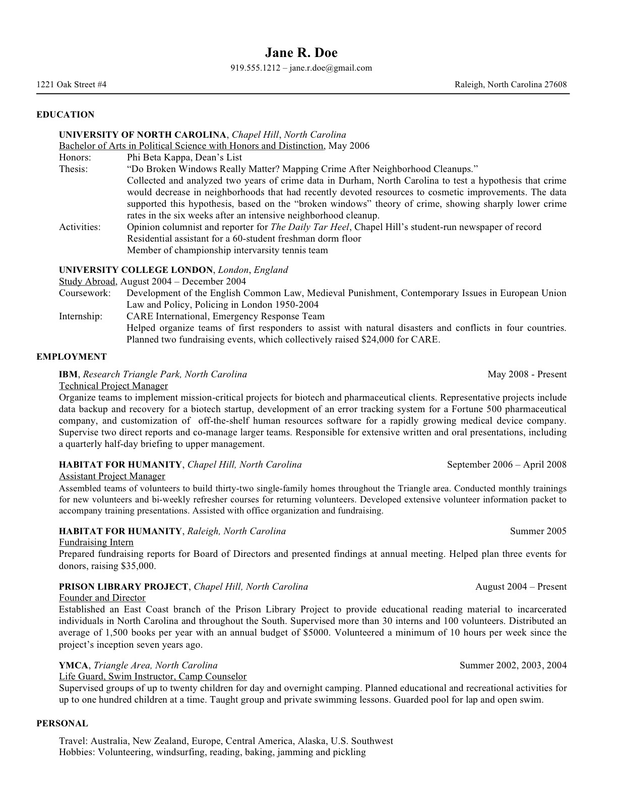 College admission student resume