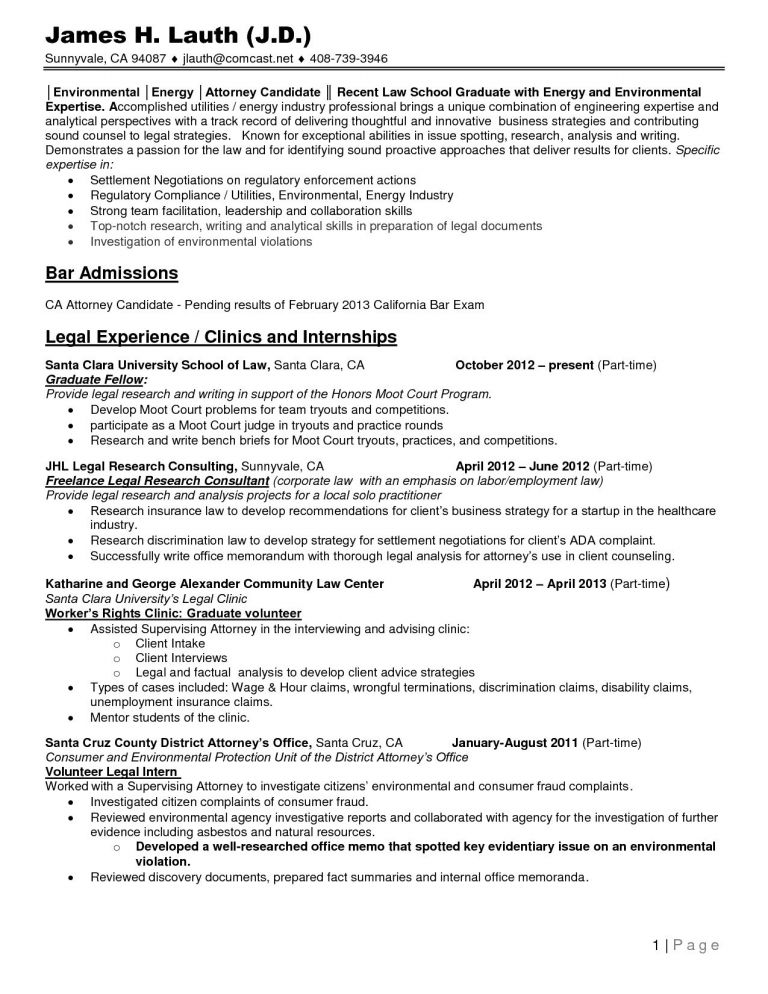 Resume lawyer bar admissions