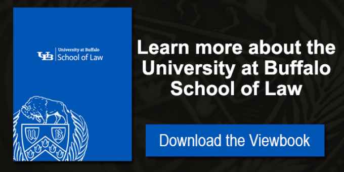 "A photo of our Viewbook with text that reads ""Learn more about the University at Buffalo School of Law. Download the Viewbook.""."