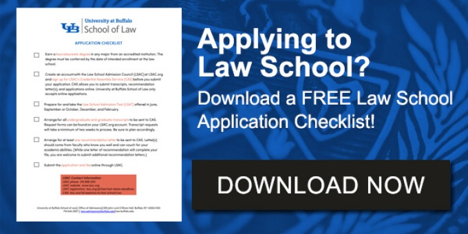 "photo of checklist with text that says ""Applying to Law School? Get a checklist for completing a law school application. Download now.""."