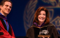 Interim Dean James A. Gardner thanks keynote speaker New York Lt. Gov. Kathy C. Hochul.