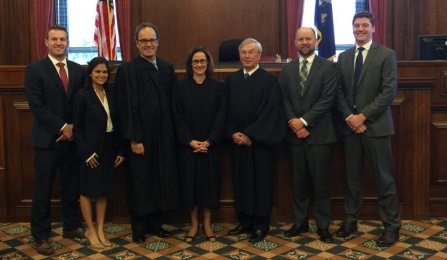 Left to right: Mac Morey and Mathri Thannikkotu, Wechsler winners from the University of Miami Law School; Hon. William J. Hochul, Jr.'84, the United States Attorney for the Western District of New York; Hon. Erin M. Peradotto '84, Associate Justice of the New York State Supreme Court, Appellate Division, Fourth Department; Hon. Eugene F. Pigott, Jr. '73, Associate Judge of the New York Court of Appeals; and John Kennelly and Nick Christianson from the University of North Dakota, who placed second.