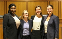 Nov. 3 – The winners of our 2018 Charles S. Desmond Moot Court Competition were Destiny M. Johnson '20 and Chloe J. Nowak '20. Runners up were Meghan Carrig '20 and Hannah M. Rauh '20. Best Brief went to Julia A. O'Sullivan '20 and Samantha R. Rubino '20; Johnson received Best Oral Advocate; Rauh received the George Kannar Award.