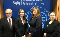 Nov. 2-3 - Our team of Kristen R. Spulecki '19, Vicki M. Bell '19 and Emily G. Sauers '19 received Best Brief at the Judith S. Kaye Arbitration Competition in New York City. Photographed with their coach Randolph C. Oppenheimer, other coach was Lisa Bauer (not photographed).