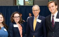 photo of Elizabeth R. David '19, Meghan L. McElligott '20, Hon. Paul L. Friedman '68, and Daniel J. Mattle '20.