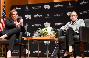 Dean Aviva Abramovsky led the evening's conversation with Justice Ginsburg.