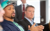 "Lorenzo Alexander of the Buffalo Bills and the National Football League Players Association was a panelist for a discussion on ""Freedom of Expression: The First Amendment and Athletics.""."
