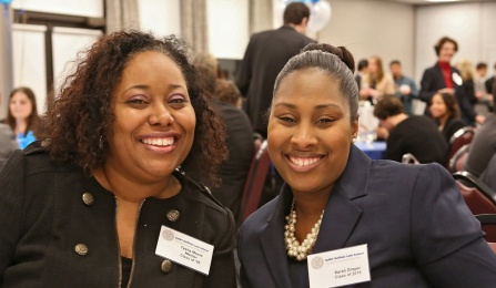 Tasha E. Moore '98 and Sarah M. Washington '16 attending a Mentor Reception.