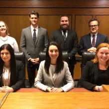1st row: Elena H. Smith '18, Angela M. Carson '19, Morgann K. Obrochta '20 2nd row: Jennifer R. Scharf '05, Co-Director of Trial Advocacy, Connor C. Dougherty '19, Jonathan D. Francisco '20, Hon. Thomas P. Franczyk, Co-Director of Trial Advocacy